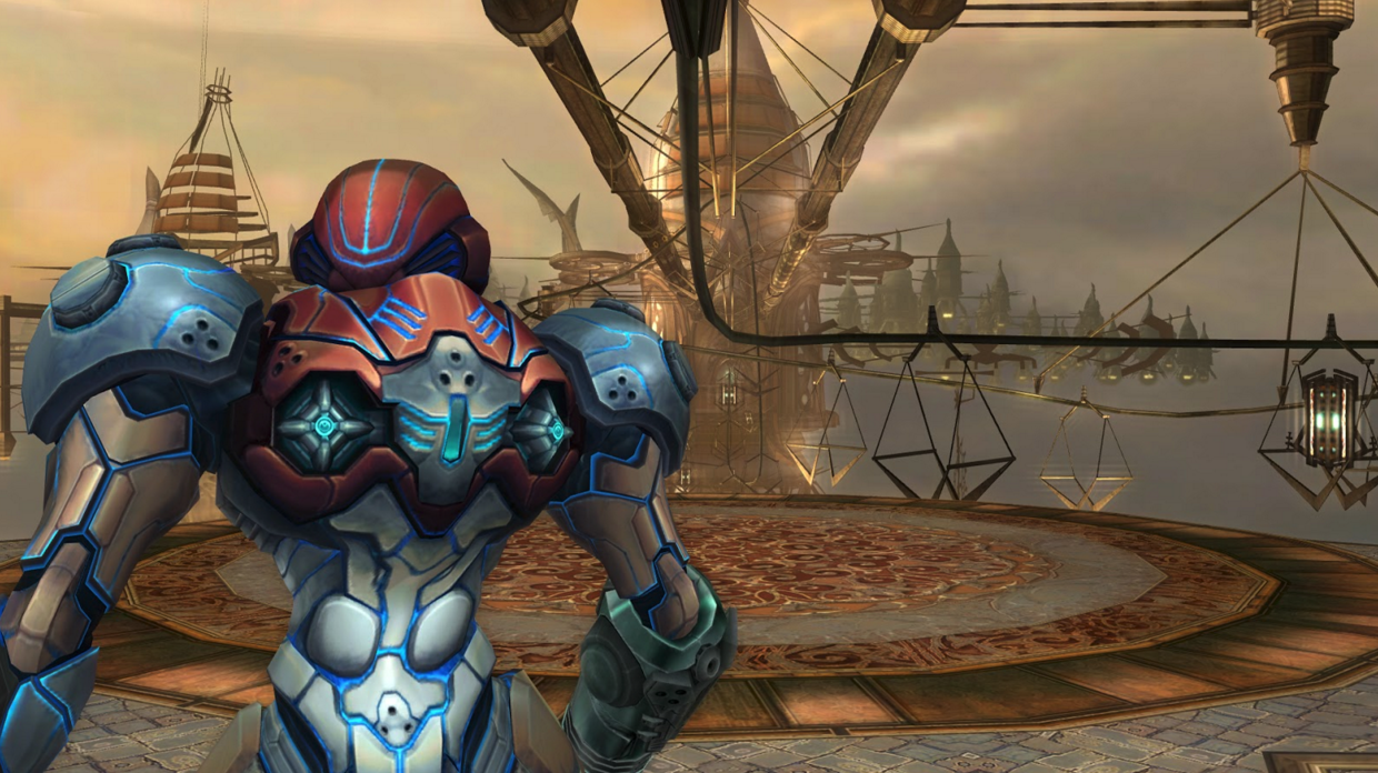 Samus gazes upon Skytown, Elysia.