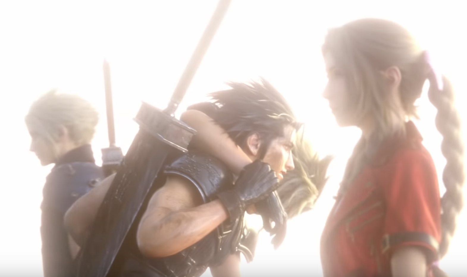 Zack crossing Aerith's path at the end of Final Fantasy VII Remake