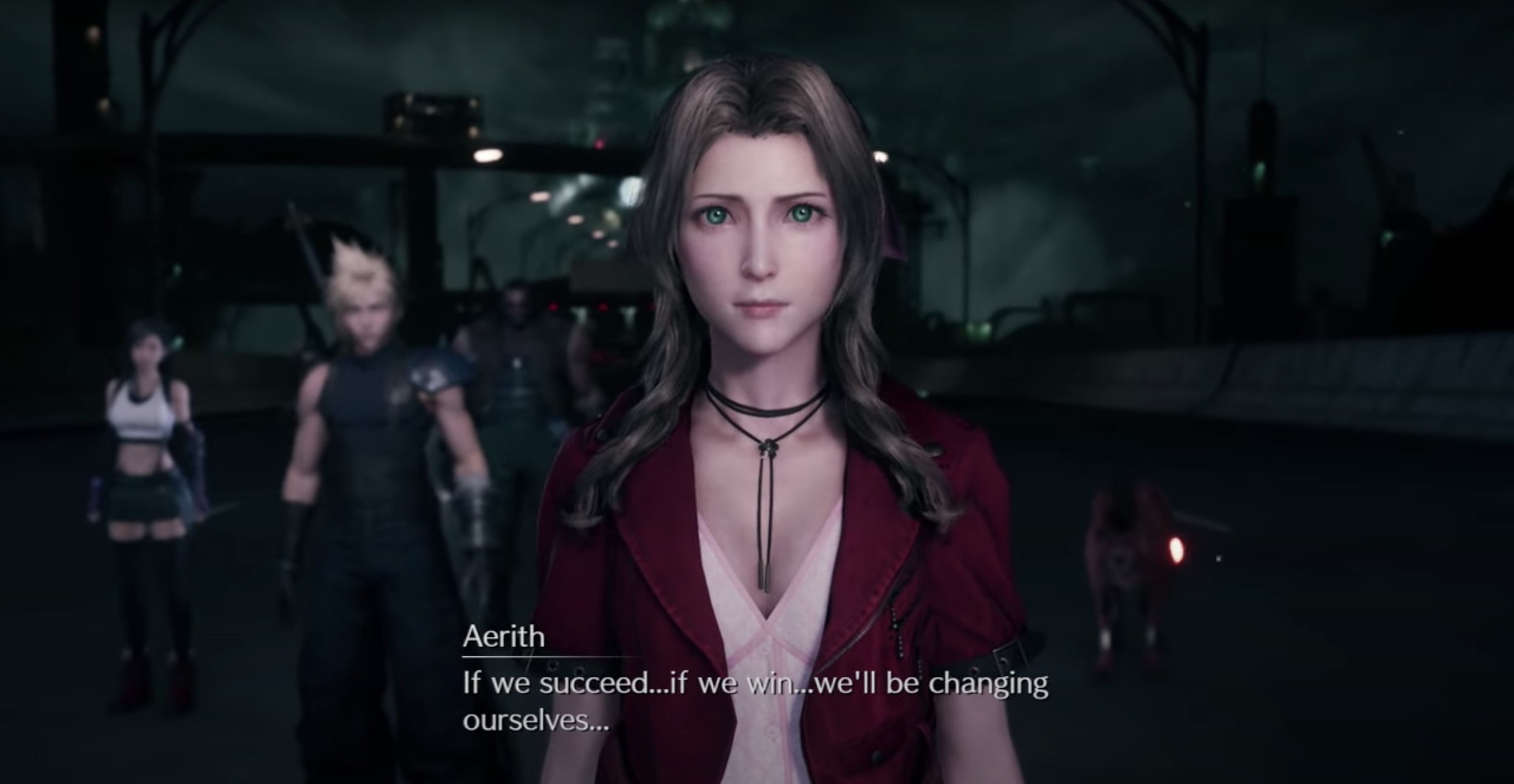 Aerith warning Cloud and the party at Destiny's Crossroads