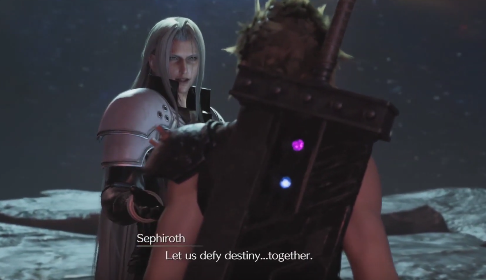 Sephiroth inviting Cloud to defy destiny with him at the Edge of Creation