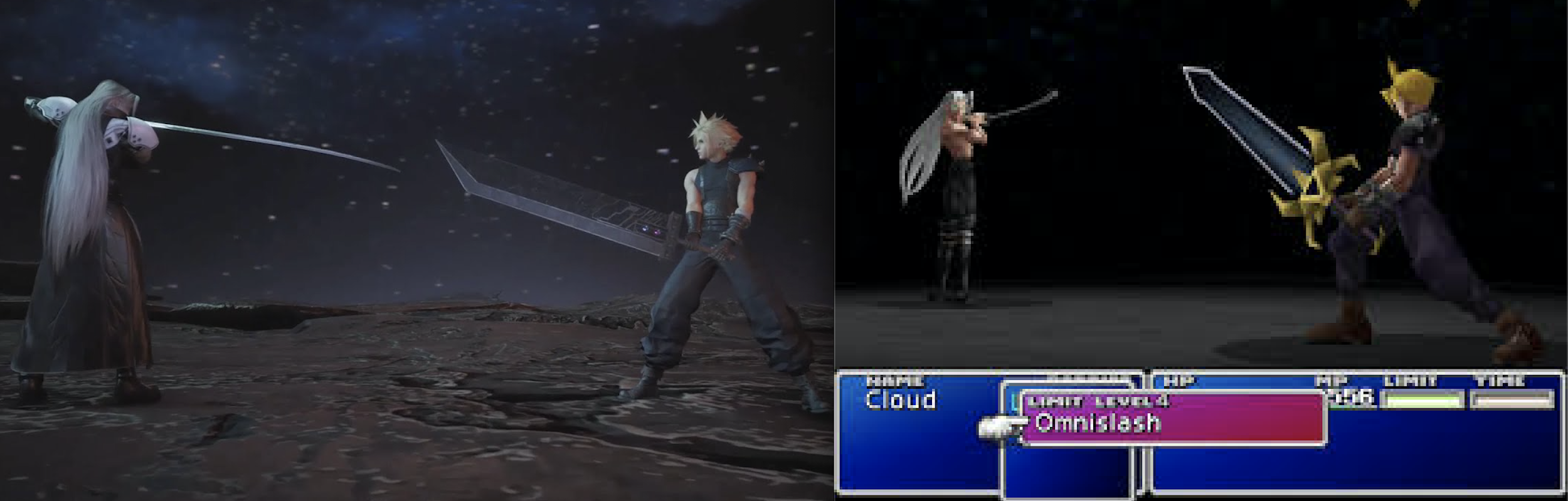 Sephiroth vs. Cloud at the end of Final Fantasy VII Remake and Final Fantasy VII